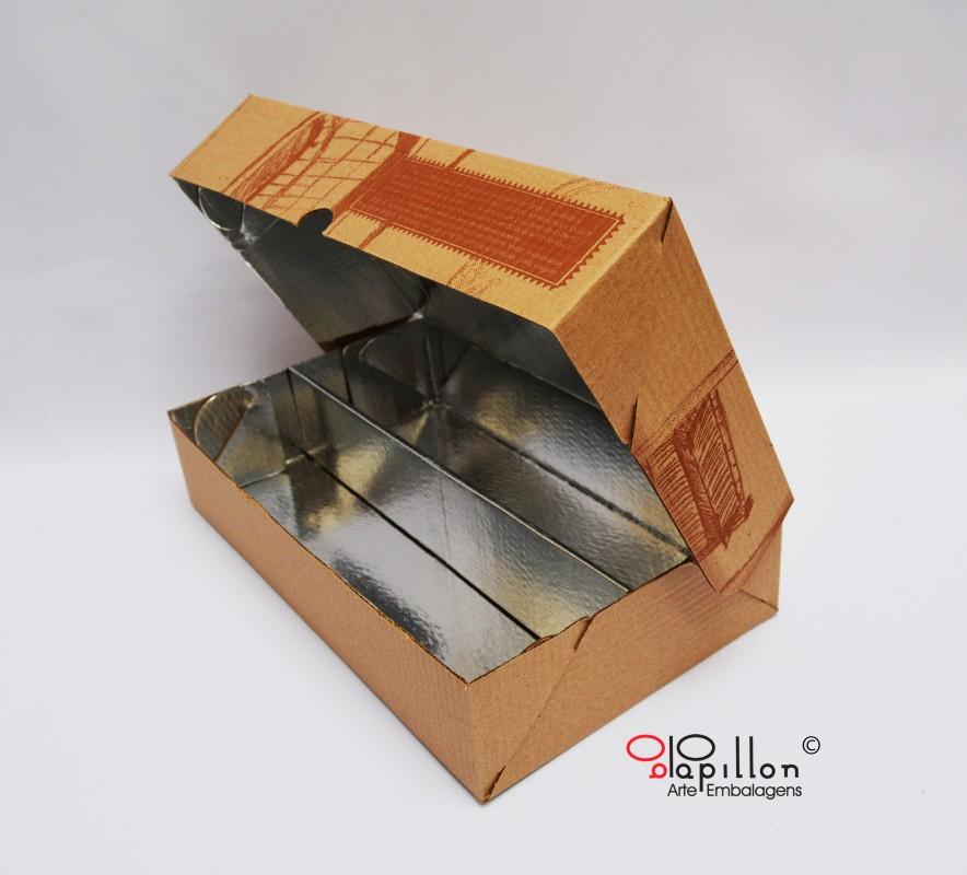 Caixa para lanches com divisória (interior laminado) medida : 29,5 x 17 x 6 cm