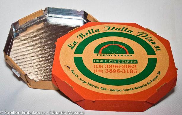 Caixa de pizza com fundo aluminizado